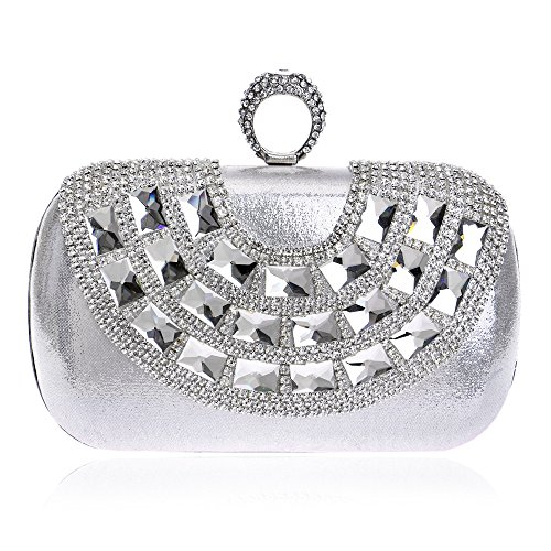 Women Bag Handbags Banquet Crystal Clutch Prom Evening Diamond Rhinestone Wedding Party Silver For Bling Purse 1xrSwpxqE