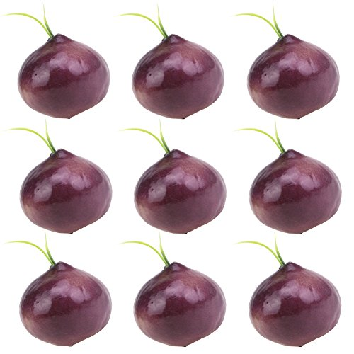 Simla Decor 9 pcs/pack Realistic Artificial Onion Fake Vegetable For Home Kitchen Shop Decoration Simulation Bordeaux Onion by Simla Decor