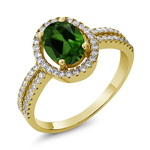 Gem Stone King 1.96 Ct Oval Green Chrome Diopside 18K Yellow Gold Plated Silver Ring (Size 7)