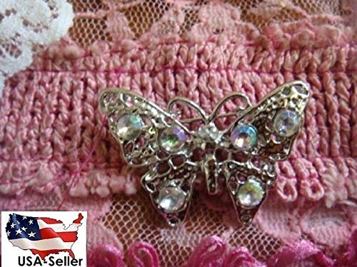 Set of 4 Silver Tone Butterfly Iridescent Rhinestone Pin Brooch #ID-676 ()