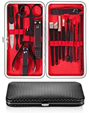 UOON Nail Clipper Manicure Set 17PCS Nail Scissors Travel Set Stainless Steel Nail Care Pedicure Tool Kit with a Portable Case (Black)