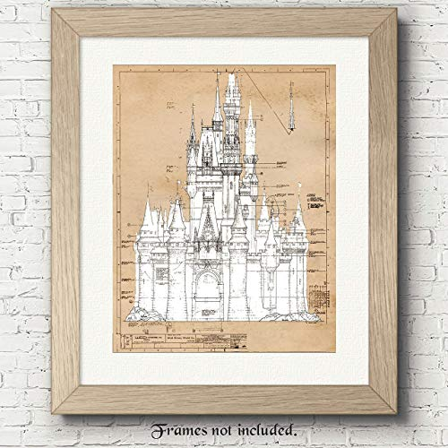 Cinderella's Castle - 11x14 Unframed Vintage Patent Poster Print - Great Wall Art Decor Gifts for Disney fans, Play room, Boys and Girls room, Nursery, Baby Shower, Classroom, Office from Stars Arts