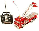 """10"""" R/C Rescue Fire Engine Truck Remote Control Kids Toy with Extending Ladder & Lights"""