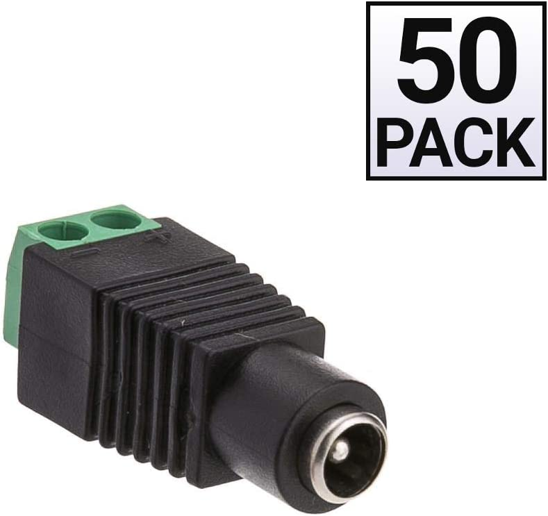 Screw Down Adapter 50 Pack DC Female Power Plug to 2 Pin Terminal GOWOS