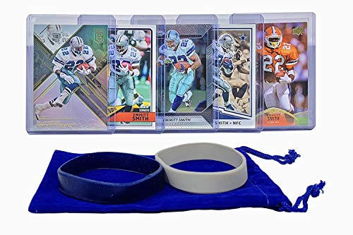 Emmitt Smith Football Cards (5) Assorted Bundle - Dallas Cowboys Trading Card Gift Set
