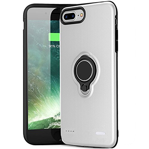 iPhone 7 Battery Case - Hathcack 5000mAh Portable Battery Charging Case for iPhone 8/7/6/6s Extended Battery Juice Pack/Lightning Cable Input Mode Support Magnetic Car Holder (White)