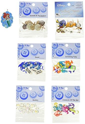 Dress It Up Disney Finding Dori Button Embellishment Assortment - 6 Pack - Includes Free Ariel Pendant