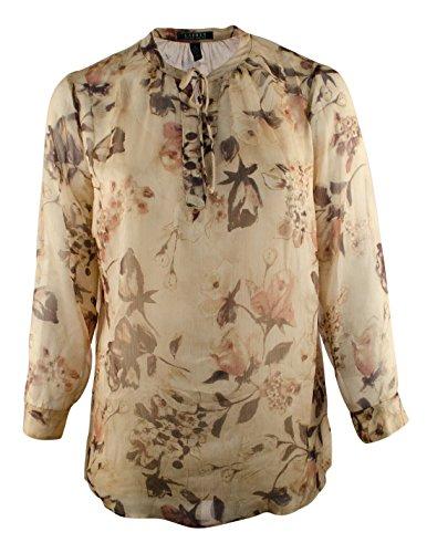 RALPH LAUREN Lauren Plus Size Long Sleeve Floral Georgette Blouse (3X, Tan)