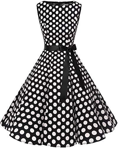s 1950s Audrey Summer Vintage Rockabilly Swing Dress Black White BDot L ()