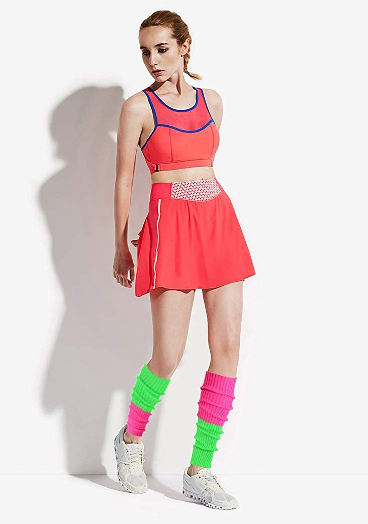 Century Star Leg Warmers for Women Girls Juniors Neon Ribbed Knitted Retro 80s Party Winter Sports Yoga
