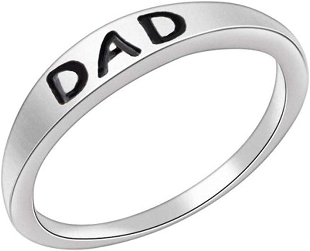 Fashion Silver Dad Letter Ring Charm Exquisite Elegant Women Girl Jewelry Accessories by Quelife
