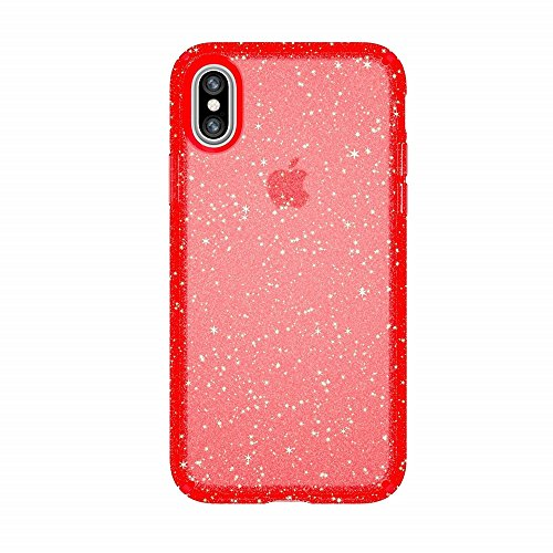 Speck Products Presidio Clear + Glitter Cell Phone Case for iPhone XS/iPhone X - Fireworks Red With Gold Glitter