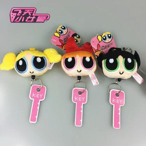 [Cute Cartoon Powerpuff Girls Plush Keychain Set of 3 Soft Key Ring Holders] (Puff The Green Dragon Dress)