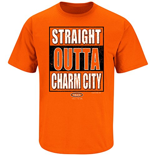 Orioles Baltimore Charm - Baltimore Baseball Fans. Straight Outta Charm City. Orange T Shirt (Sm-5X) (X-Large)