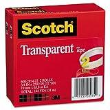 Scotch Transparent Tape 600 2P34 72, 3/4 inch x 2592 inch, 3 inch Core, Transparent, 2/Pack