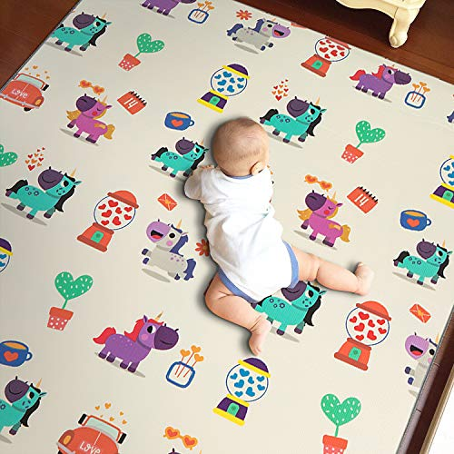 Outroad Non Toxic Baby Carpet for Crawling, Cute Play Mat for Toddlers, Nursery Game mat, Waterproof Kids Play Area Rug for Indoor or Outdoor,66.9'' x 59''