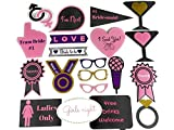 20 Piece Bachelorette Party Photo Booth Props Set- Real Glitter on Sturdy Paperboard- Perfect for Girls Night Out or Hen Party- Fun for Ladies Event or a Wedding Party Activity