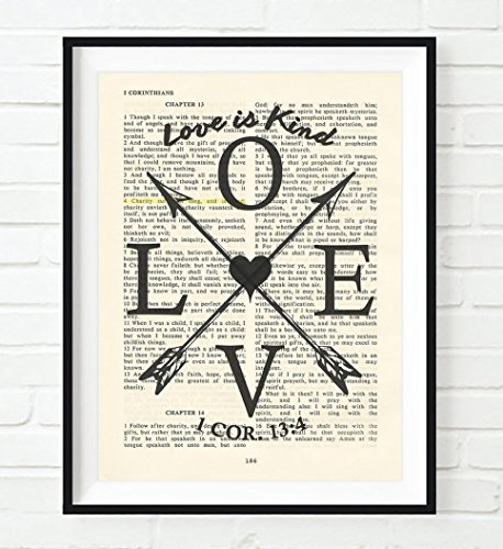 LOVE is Kind - 1 Corinthians 13:4 - Vintage Bible verse scripture Christian ART PRINT, UNFRAMED, wedding anniversary wall art decor poster, Inspirational gift, 8x10 inches