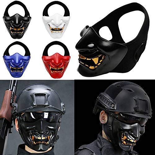 ZHNA Evil Demon Monster Skull Terror Tactical Half Face Mask Mouth Airsoft Paintball Wargames Protection (Red,One -