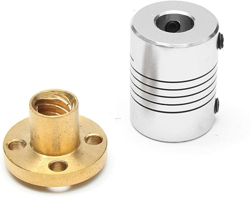 LULUTING ZH-Wang 3D Printer Parts Brass Nut 1000mm T8 Stainless Steel Lead Screw Coupling Shaft Motor Kit for 3D Printer