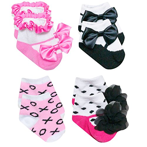 Baby Essentials Pink Ballerina Socks XOXO Black White Mary Jane Dot 4 Pack 0-6 Mth