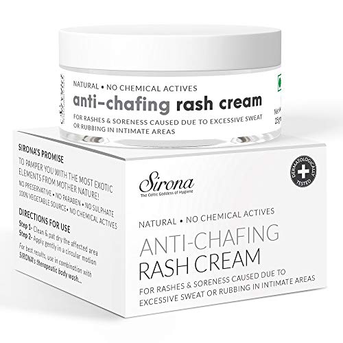 Sirona Natural Rash Cream – 25gm | For Chafing Due to Sanitary Pads, Heavy Thighs, Sports Activities, Waxing and Gymming