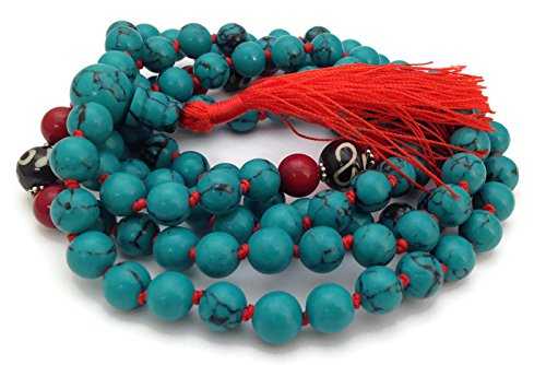 Hand Knotted Tibetan Turquoise 108 Beads Full Mala Necklace with Om Bead and Red Coral Spacers Hand Knotted