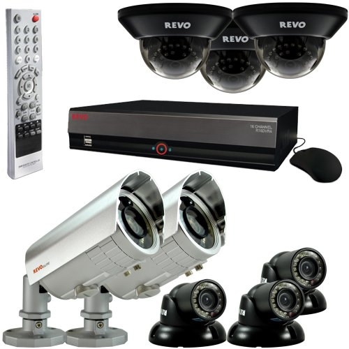 REVO America Professional Surveillance Security System with 16-Channel 4TB DVR, 6 Quick Connect Indoor/Outdoor and 2 Elite Cameras ()