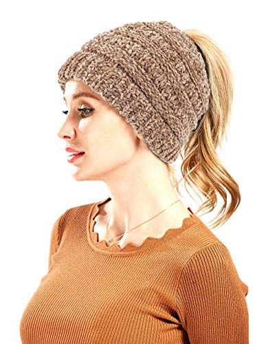 C.C BeanieTail Chenille Soft Stretch Cable Knit Messy High Bun Ponytail Beanie Hat
