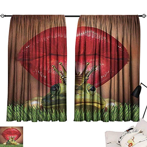 (Josepsh Animal reducing Noise Darkening Curtains Lady Finds Her Frog Prince Soul Mate in Love Valentines Romance Fairy Tale Art Curtains/Panels/Drapes Green Red Yellow W108 x L72)