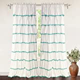 "DriftAway Pom Pom Ruffle Window Curtain for Kids Room, Single Panel, One Panel, 52""x84"" Plus 2'' Header (Aqua)"