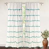 Pom Pom Curtains DriftAway Drift Away Pom Pom Ruffle Window Curtain, Single Panel, One Panel, 52x84 Plus 2
