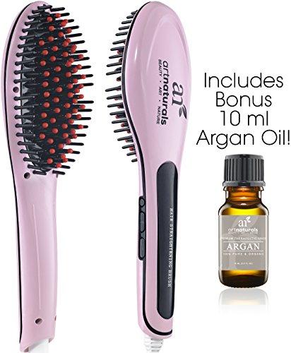 Art Naturals Hair Straightener Brush With Bonus Argan Oil 10ml - Best Ceramic, Anti Static, Electric Heating Detangling Hair Brush (2017 Edition) (Natural Oils Hair Brush compare prices)