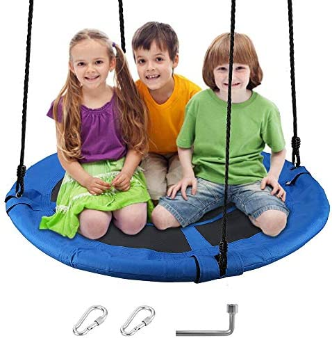 ABDQPC 40 Saucer Swing, Tree Swing Set Saucer Swing Set Outdoor and Indoor Swings for Kids with Adjustable Straps for Kids Playground Swing, Backyard and Playroom Blue Swing