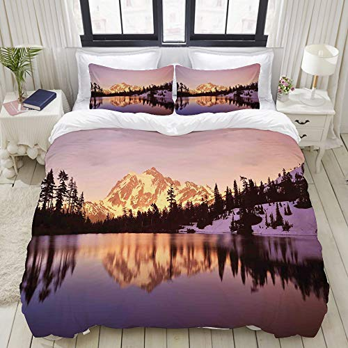 TARTINY Duvet Cover Set, Snow Capped Mt Shuksan and Lake at Sunset Evening National Forest Washington, Custom 3 Piece Bedding Set with 2 Pillow Shams, Twin Size