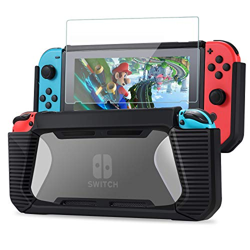 Tasikar Heavy Duty Case Compatible with Nintendo Switch Enhanced Grip Rubberized Protective Cover Case with Tempered Glass Screen Protector (Black - Clear)