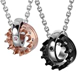 "Crown His & Hers Couple Royal Ring Pendant Love Necklace Valentine Set, 19 & 21"" Chain (Black, Rose Gold)"