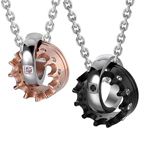- Urban Jewelry Crown His & Hers Couple Royal Ring Pendant Love Necklace Valentine Set, 19 & 21