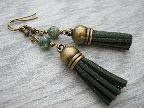 Moss Agate Vegan Faux Leather Tassel Earrings, Forest Green Earrings, Tassel Jewelry, Heart Chakra Earrings, Antiqued BRONZE ()