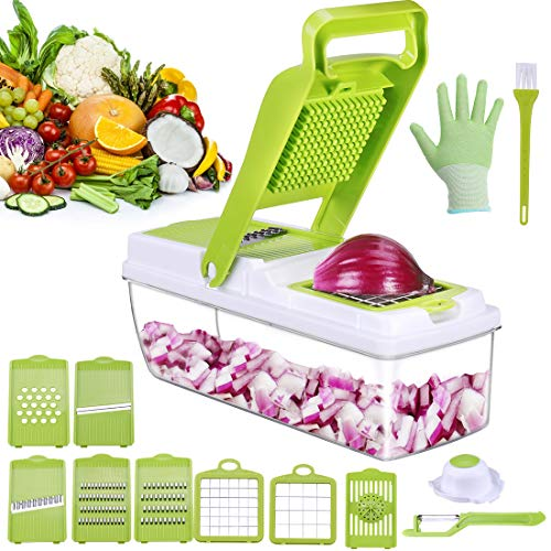 Vegetable Chopper &Onion slicer,Stainless steel veggie slicer with Easy&Fast Cut, Dishwasher safe with less work, 5 Protection System,No clogging Veggis Dicer Great for Onion/Tomato/Potato, etc.