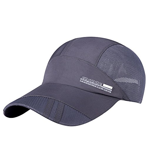 548b6744ac1f2 iYBUIA Fashion Adult Mesh Hat Quick-Dry Collapsible Sun Hat Outdoor  Sunscreen Baseball Cap Gray