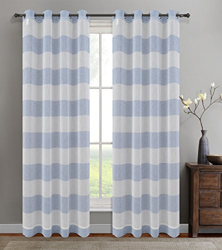 Urbanest 54-inch by 96-inch Set of 2 Nassau Faux Linen Sheer Striped Curtain Panels with Grommets, Blue