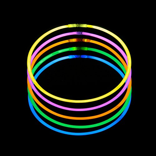 LaRibbons 50Pcs 22'' Glow Sticks Necklaces Bulk in Assorted Colors for Birthday and Party (Stick Necklaces Glow 22')
