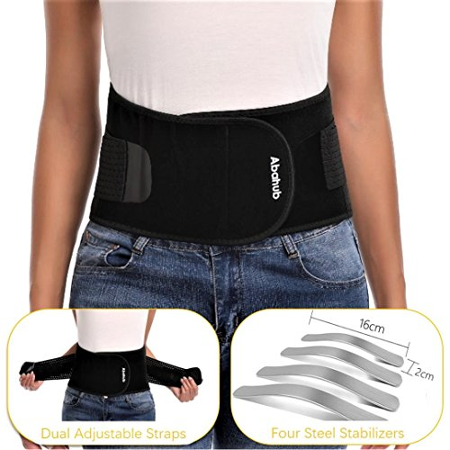 Abahub Breathable Lumbar Support Belt for Men & Women, Helps Lower Back Pain Relief with Slipped Discs Or Degenerative Disc Disease, Black XL(43