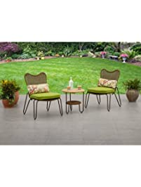 tree piece outdoor steel coffee set one table with bottom shelf two chairs