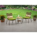 Tree Piece Outdoor Steel Coffee Set, One Table with Bottom Shelf, Two Chairs, Polyester Cushion Fabric, Weather and UV Resistant, Ideal for Garden, Porch, Yard, Patio Furniture, BONUS E-book