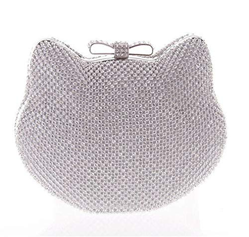 ULKpiaoliang Diamond Silver Evening Bags Cat Head Gold Rhinestone Clutch Bow Knot Crystal Purse Glitter silver (Bag Pouch Evening Metallic)