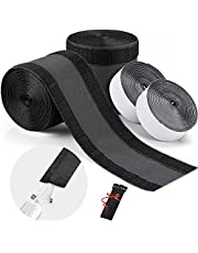 HAMPHOME Cable Grip Strip, Floor Cord Cover for Commercial Office Carpet and Any Smooth Surface, Cable Management 2 Pcs 4''Width X 20''Length with 6 Pcs Reusable Cable Ties(Black)