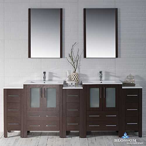 BLOSSOM 001-84-03-DSC Sydney 84'' Vanity Set with Double Side Cabinets Wenge by Blossom
