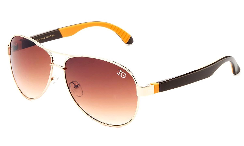 "Newbee Fashion - ""Vibrance"" Aviator Style Two Tone Aluminum Finish Sunglasses"